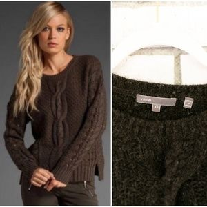 Vince Crop Cable Openwork Yak Wool Sweater